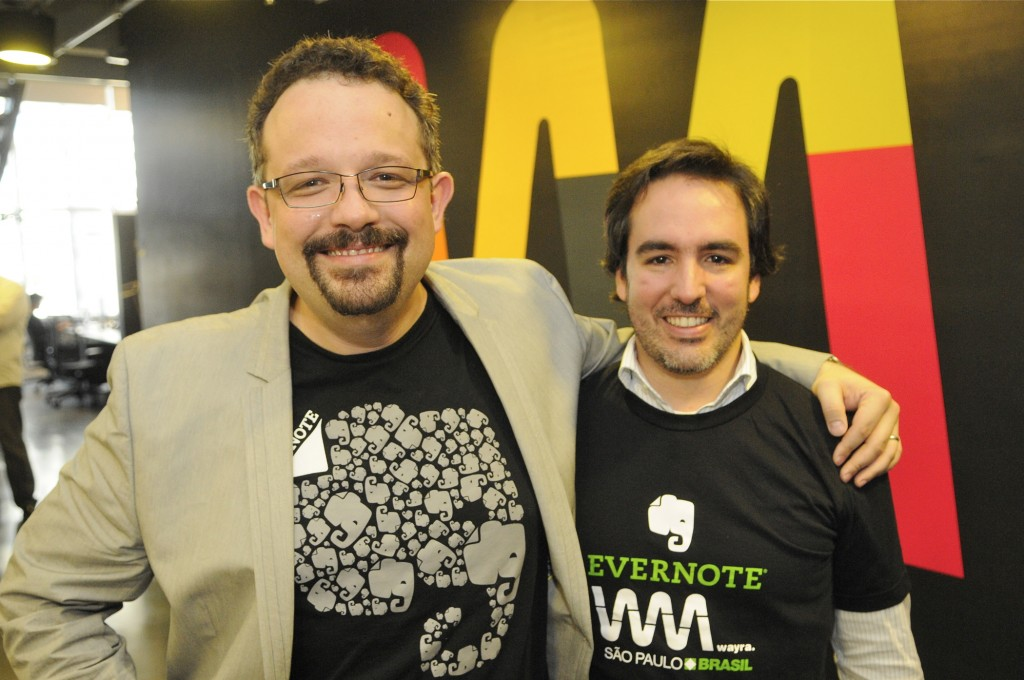 Phil Libin, CEO of Evernote, and Carlos Pessoa, Director of Wayra in Brazil.