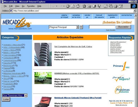 A view of MercadoLibre's landing page in 1999.