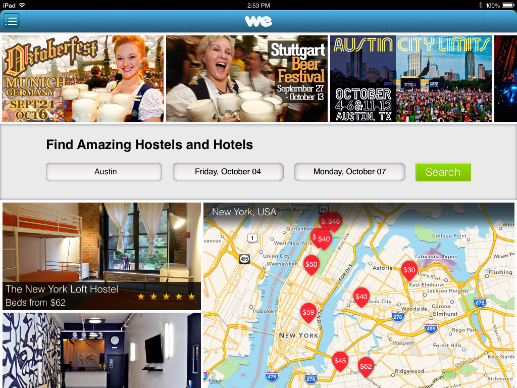 WeHostels for iPad.