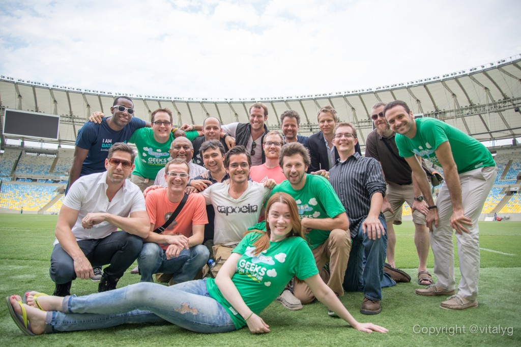 Ber and the Geeks on a Plane team at Estadio Maracaná, Rio de Janeiro, Brazil. Image credit @vitalyg.