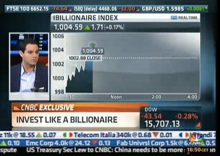 Moreno announced the launch of the iBillionaire Index on CNBC.