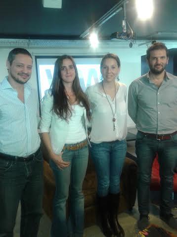 Wayra execs with two entrepreneurs in acceleration: Martín Spinetto (Widow Games), Lorena Suárez, Lourdes Rivas (Gear Translations) and Andrés Saborido.