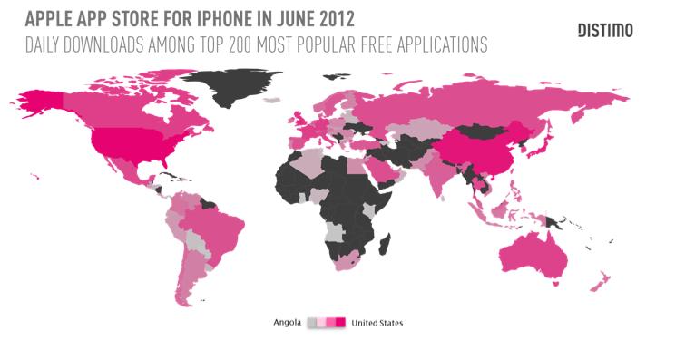 Descargas en el mundo desde AppStore