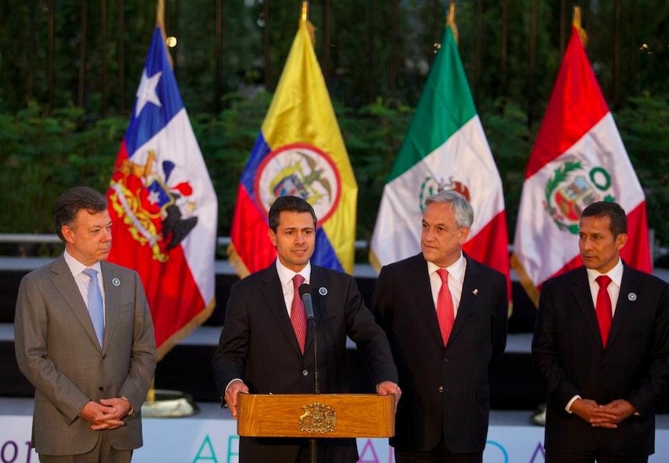 Los presidentes de los cuatro países miembro de la Alianza del Pacífico.