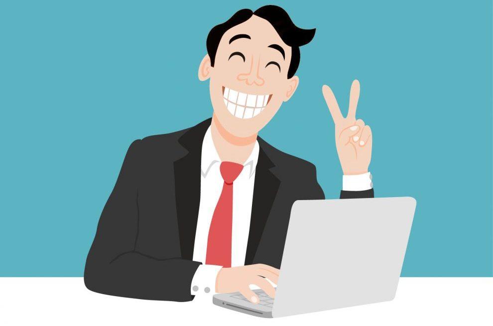 Trabajador feliz - oficina